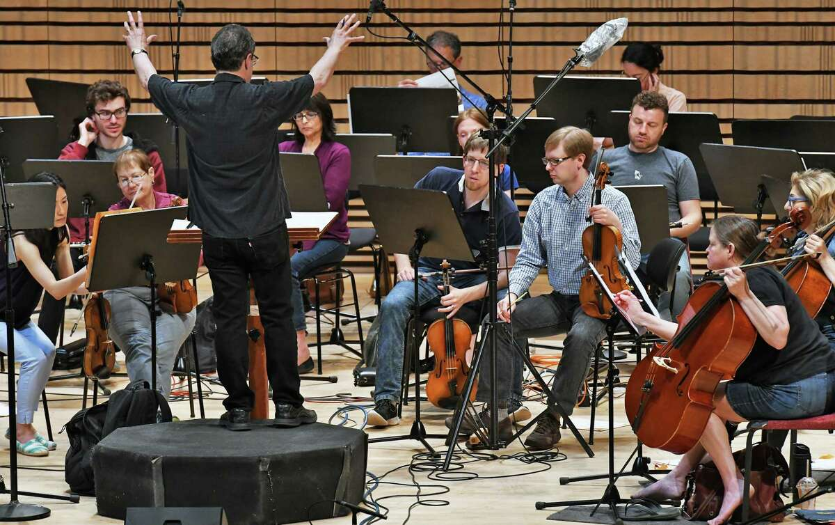 Music Director David Alan Miller rehearses the Albany Symphony Orchestra at RPI's EMPAC for their upcoming weekend American Music Festival Friday June 2, 2017 in Troy, NY. (John Carl D'Annibale / Times Union)