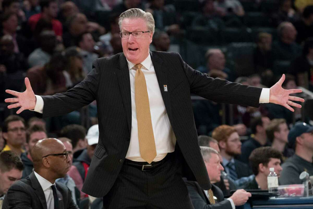 Iowa head coach Fran McCaffery gestures during the first half of an NCAA college basketball game against Michigan in the second round of the Big Ten conference tournament, Thursday, March 1, 2018, at Madison Square Garden in New York. (AP Photo/Mary Altaffer)