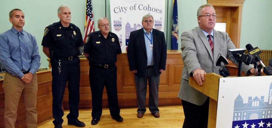 Mayor Shawn Morse, right, speaks during a news conference on Tuesday, Sept. 6, 2016, at City Hall in Cohoes, N.Y. Joining Morse, from left are Councilman Randy Koniowka, Capt. Todd Pucci, Asst. Police Chief Tom Ross and President of the Common Council Chris Briggs. They addressed the findings and conclusion of the investigation regarding the fatal pedestrian accident that occurred on June 16th. (Cindy Schultz / Times Union) Photo: Cindy Schultz / Albany Times Union