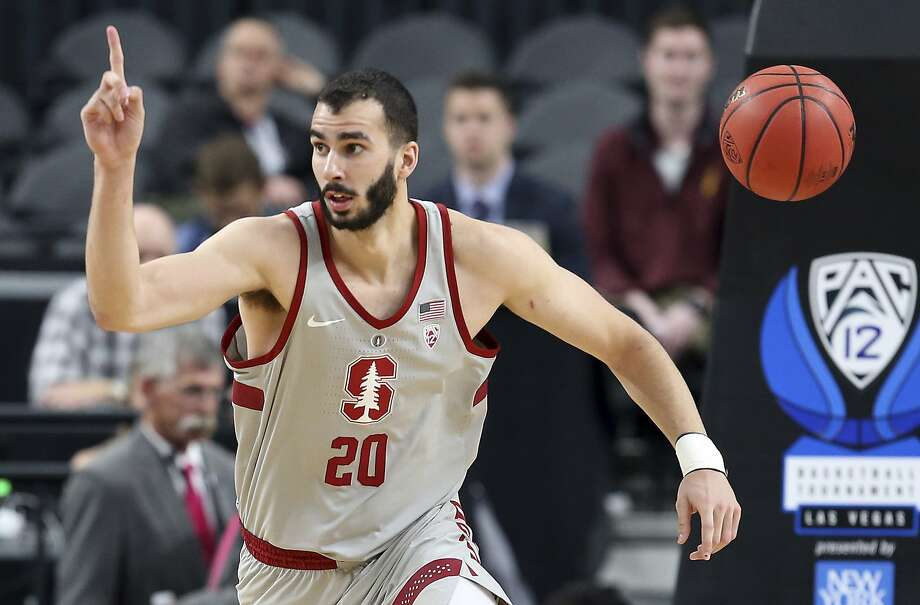 Stanford's Josh Sharma reacts after scoring during the first half of an NCAA college basketball game against California in the first round of the Pac-12 men's tournament Wednesday, March 7, 2018, in Las Vegas. (AP Photo/Isaac Brekken) Photo: Isaac Brekken, Associated Press