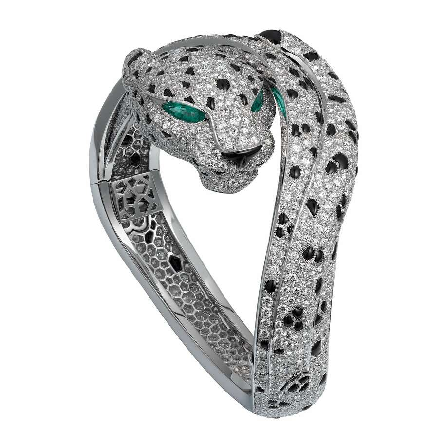 Items in Cartier's High Jewelry collection include one-of-a-kind creations such as the Panthère de Cartier High Jewelry bracelet made of platinum, emeralds, onyx and diamonds (price upon request). Photo: Cartier