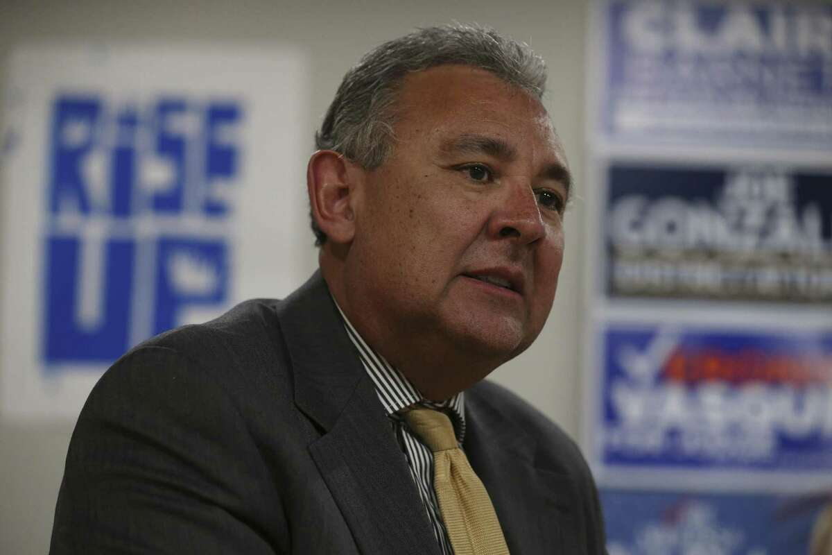 """Democratic nominee for Bexar County District Attorney Joe Gonzales talks with the media at his campaign headquarters, Wednesday, March 7, 2018. He said he would """"reserve the right"""" to seek the death penalty but only with """"overwhelming evidence of guilt."""""""