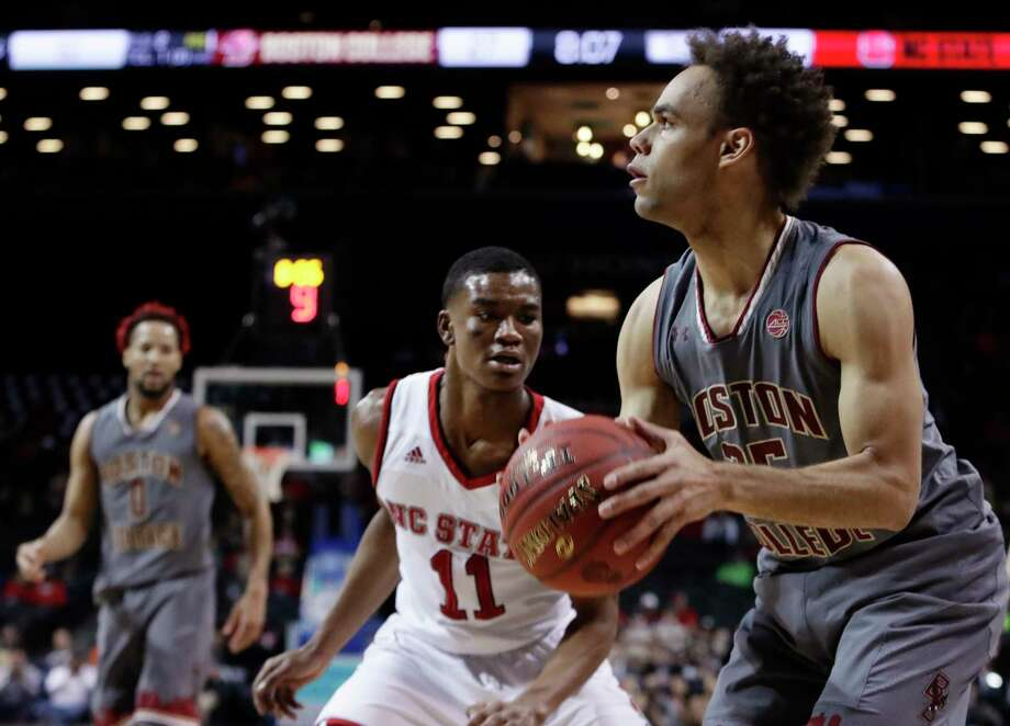 North Carolina State's Markell Johnson (11) watches as Boston College's Jordan Chatman (25) looks to shoort during the first half of an NCAA college basketball game in the second round of the Atlantic Coast Conference tournament Wednesday, March 7, 2018, in New York. (AP Photo/Frank Franklin II) Photo: Frank Franklin II / Copyright 2018 The Associated Press. All rights reserved.