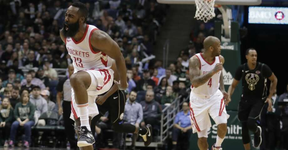Houston Rockets' James Harden reacts during the second half of an NBA basketball game against the Milwaukee Bucks Wednesday, March 7, 2018, in Milwaukee. (AP Photo/Morry Gash) Photo: Morry Gash/Associated Press