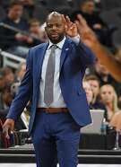 LAS VEGAS, NV - MARCH 07:  Head coach Wyking Jones of the California Golden Bears signals his players during a first-round game of the Pac-12 basketball tournament against the Stanford Cardinal at T-Mobile Arena on March 7, 2018 in Las Vegas, Nevada. The Cardinal won 76-58.  (Photo by Ethan Miller/Getty Images)