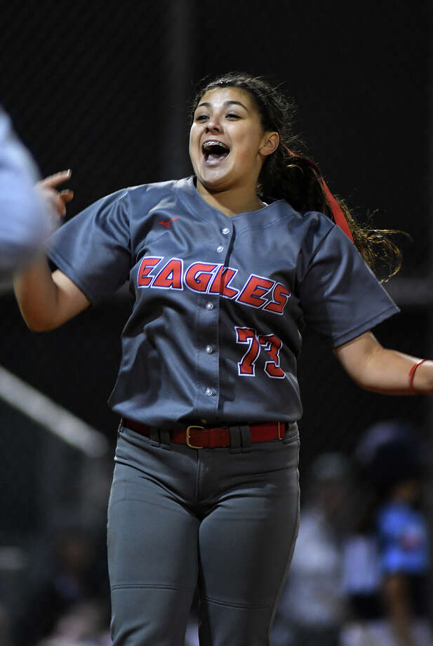 Atascocita senior pitcher Jenika Lombrana celebrates after the last out of her complete game 1-0 win in the circle for the Eagles against Kingwood in their District 21-6A opener at Kingwood Park High School on March 7, 2018. {Photo by Jerry Baker/Freelance) Photo: Jerry Baker, For The Chronicle / Freelance