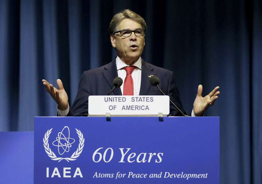 In this Sept. 18, 2017, file photo, U.S. Energy Secretary Rick Perry delivers a speech during the general conference of the International Atomic Energy Agency, IAEA, in Vienna, Austria. Energy Secretary Rick Perry is pushing the development of a new generation of coal power plants while seeking to slash spending on technology that many government officials and analysts view as critical to coal's survival a low-carbon world. Photo: Ronald Zak /Associated Press / Copyright 2017 The Associated Press. All rights reserved.