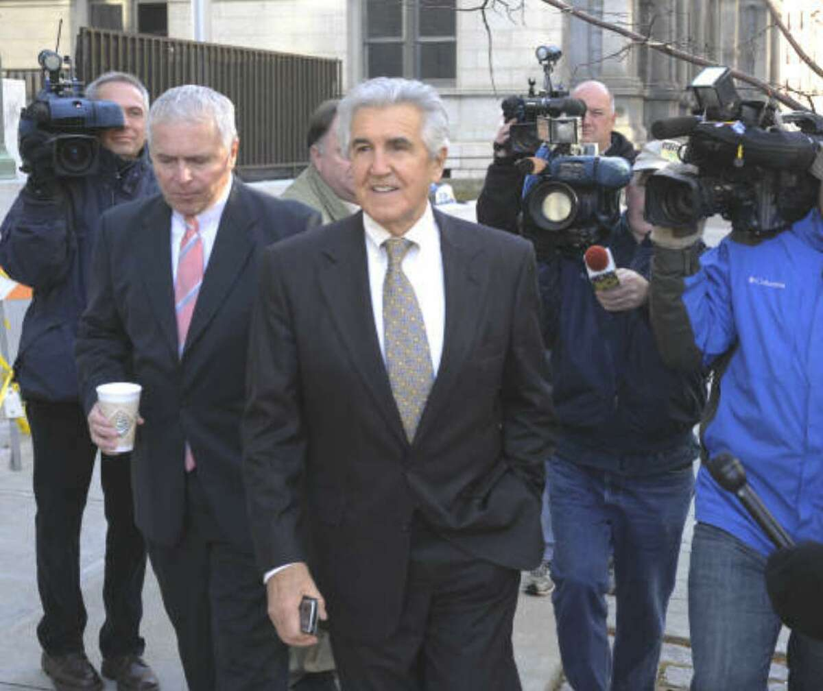 Prosecutors could conclude their case against former state Sen. Joseph L. Bruno later this week. The Brunswick Repubican appears Tuesday outside federal court in Albany. (Skip Dickstein / Times Union)