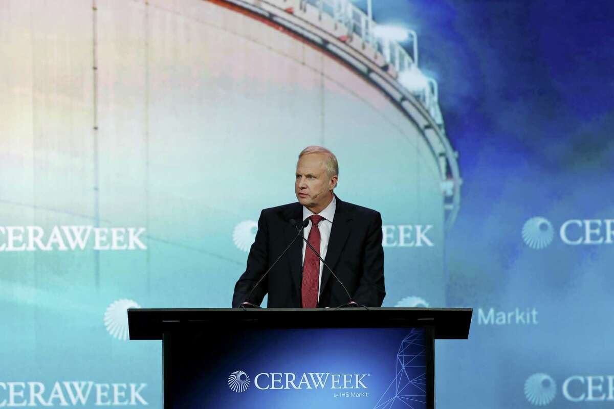 Bob Dudley, chief executive officer of BP Plc, speaks during the 2018 CERAWeek by IHS Markit conference in Houston, Texas, U.S., on Tuesday, March 6, 2018. CERAWeek gathers energy industry leaders, experts, government officials and policymakers, leaders from the technology, financial, and industrial communities to provide new insights and critically-important dialogue on energy markets. Photographer: Aaron M. Sprecher/Bloomberg