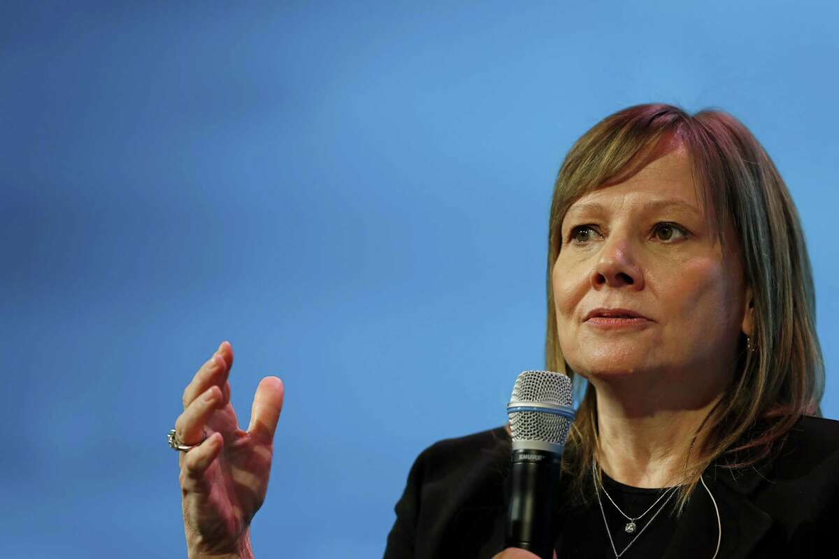 Mary Barra, chief executive officer of General Motors Co. (GM), speaks during the 2018 CERAWeek by IHS Markit conference in Houston, Texas, U.S., on Wednesday, March 7, 2018. CERAWeek gathers energy industry leaders, experts, government officials and policymakers, leaders from the technology, financial, and industrial communities to provide new insights and critically-important dialogue on energy markets. Photographer: Aaron M. Sprecher/Bloomberg