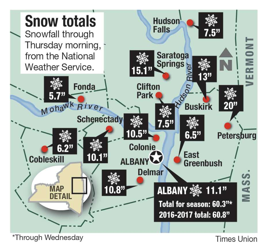 Snow totals for storm Wednesday, March 8, through Thursday morning, March 9, 2018.