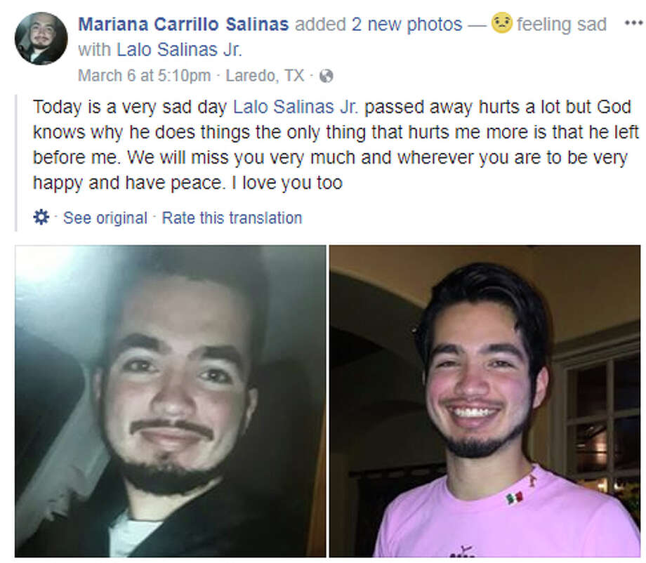 "Mariana Carrillo Salinas: ""Today is a very sad day Lalo Salinas Jr. passed away hurts a lot but God knows why he does things the only thing that hurts me more is that he left before me. We will miss you very much and wherever you are to be very happy and have peace. I love you too"" Photo: Facebook"