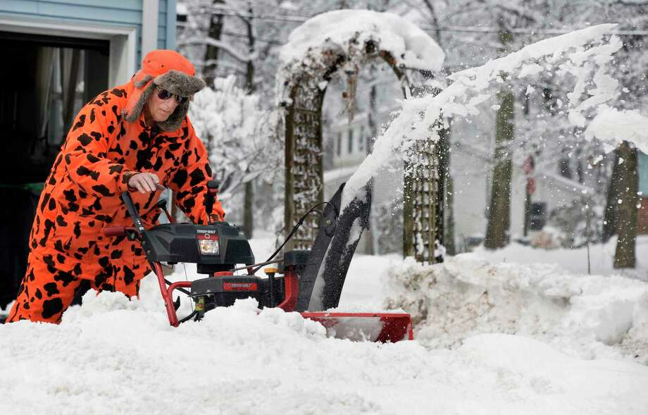 Ed Wagner clears his driveway Thursday March 8, 2018 in Clifton Park, NY.  (John Carl D'Annibale/Times Union) Photo: John Carl D'Annibale, Albany Times Union / 20043164A