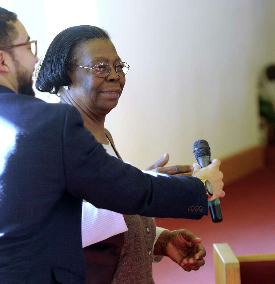 Gladys Cooper who was instrumental in organizing the annual event, speaks at the close of New Hope Baptist Church's Dr. Martin Luther King Jr. program, Monday, January 16, 2017, the national holiday honoring the birthday of the civil rights leader. Photo: Carol Kaliff / Hearst Connecticut Media / The News-Times