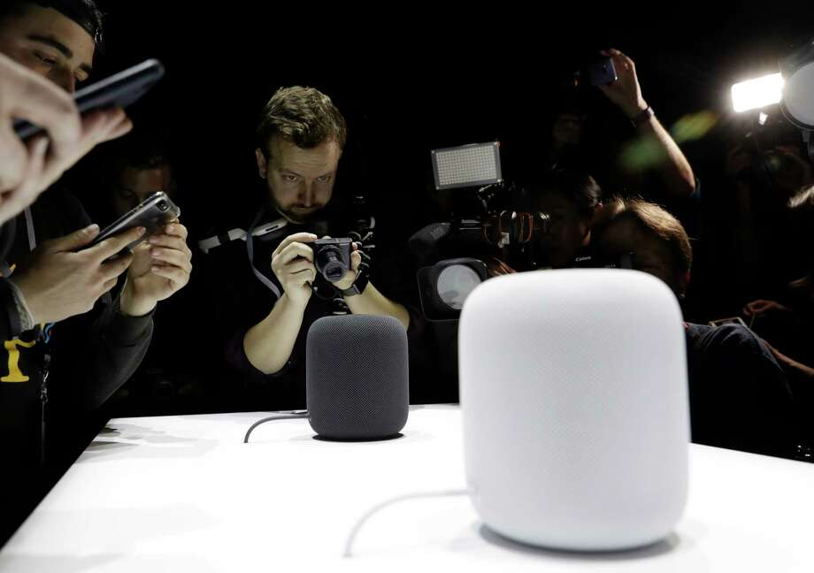 In this June 5, 2017, photo, the HomePod speaker is photographed in a a showroom during an announcement of new products at the Apple Worldwide Developers Conference in San Jose, Calif. While Amazon pioneered the internet-connected speaker that responds to voice commands, it now has plenty of competition from other tech heavyweights.  (AP Photo/Marcio Jose Sanchez, File) Photo: Marcio Jose Sanchez, STF / Copyright 2017 The Associated Press. All rights reserved.
