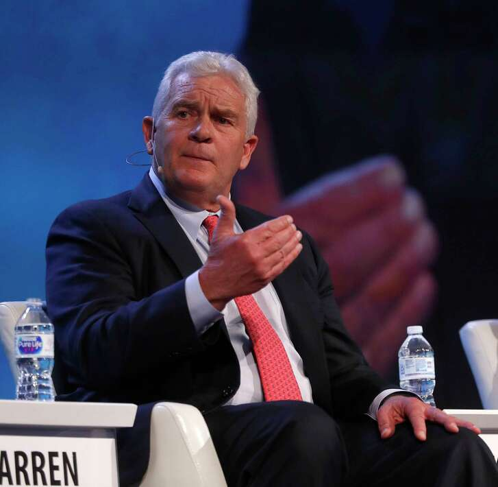 """Kelcy Warren, CEO of Energy Transfer Partners and owner of the controversial Dakota Access Pipeline, talks about the future of pipeline infrastructure on a panel called """"Building tomorrow's North Amerian infrastructure"""" at the CERAWeek conference at the Hilton Americas, Wednesday, March 7, 2018, in Houston."""