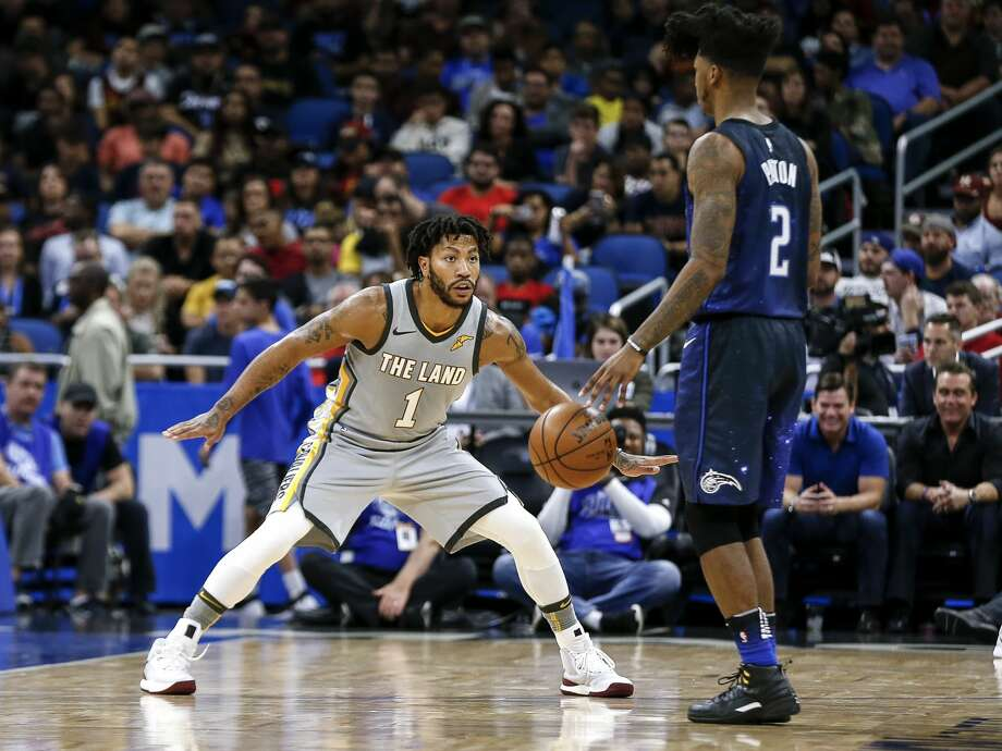 ORLANDO, FL - FEBRUARY 6: Derrick Rose #1 of the Cleveland Cavaliers defends Elfrid Payton #2 of the Orlando Magic during the game at the Amway Center on February 6, 2018 in Orlando, Florida. The Magic defeated the Cavaliers 116 to 98. NOTE TO USER: User expressly acknowledges and agrees that, by downloading and or using this photograph, User is consenting to the terms and conditions of the Getty Images License Agreement. (Photo by Don Juan Moore/Getty Images) Photo: Don Juan Moore/Getty Images