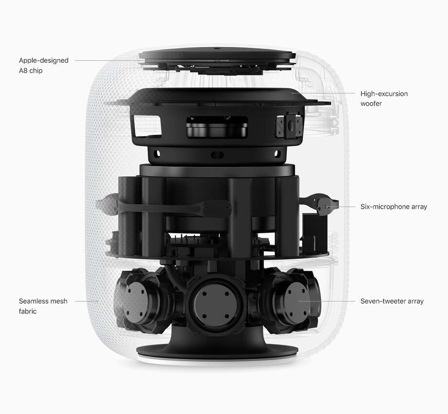 Here's what the HomePod looks like under its seamless mesh cover. Photo: Apple