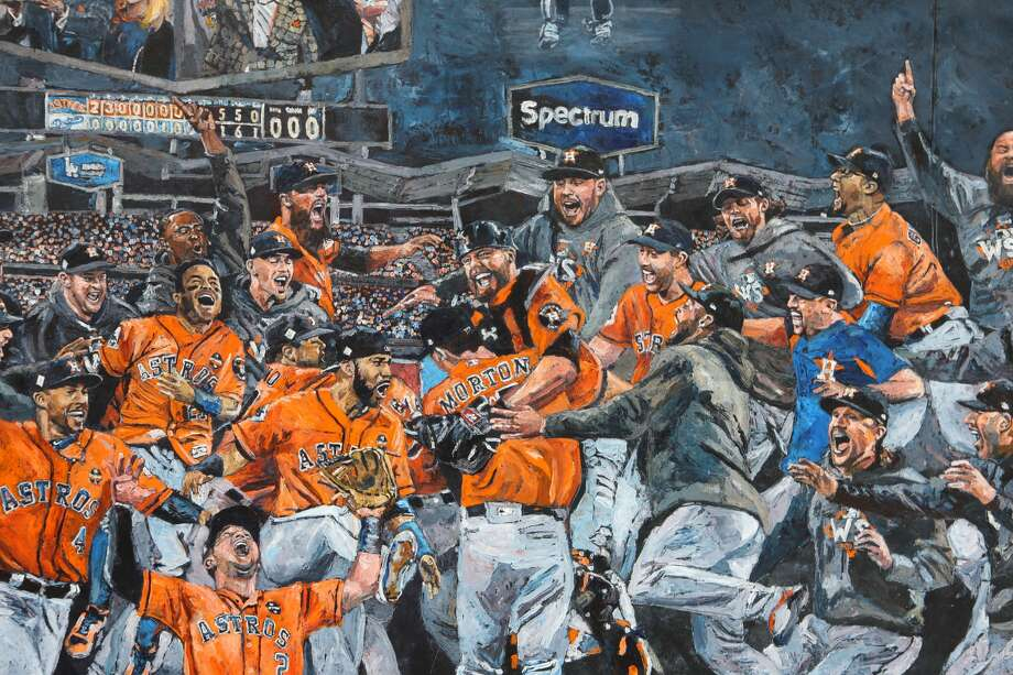 Opie Otterstad's awesome painting depicting the moment just after the Astros defeated the Dodgers 5-1 in Game 7 of the World Series.Browse through the photos for a look at Otterstad's process and some of the other paintings that will be on display at Off The Wall Gallery in Houston.  Photo: Limelight Agency 2018