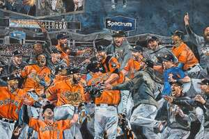 Opie Otterstad's awesome painting depicting the moment just after the Astros defeated the Dodgers 5-1 in Game 7 of the World Series.   Browse through the photos for a look at Otterstad's process and some of the other paintings that will be on display at Off The Wall Gallery in Houston.