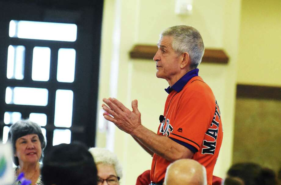 Jim McIngvale gave an inspirational speech that included encouraging community members to donate to Cypress Assistance Ministries $3.5 million capital campaign for a new building. Photo: Tony Gaines/ HCN, Staff / Houston Chronicle