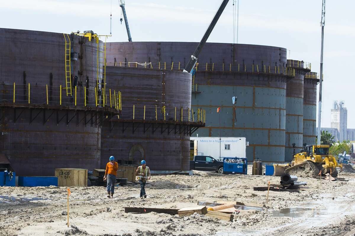 New oil storage tanks are built for an additional oil export facility at the Port of Corpus Christi, Wednesday, March 7, 2018, in Corpus Christi.