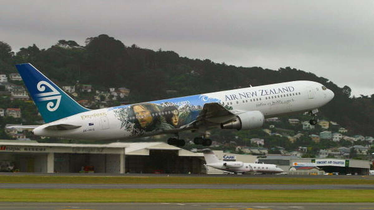 Lord of The Rings stars take-off for Los Angeles onboard an Air New Zealand 767 emblazoned with Lord of the Rings imagery a day after the worldwide premier of the third and final Rings movie