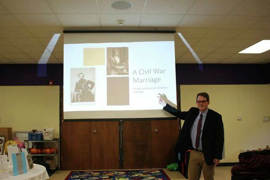 Paul E. Teed, historian and professor of history at Saginaw Valley State University, discussed the eventful lives of Joseph and Harriet Hawley in a presentation to the members of the Daughters of the Union at a Midland meeting. (photo provided)