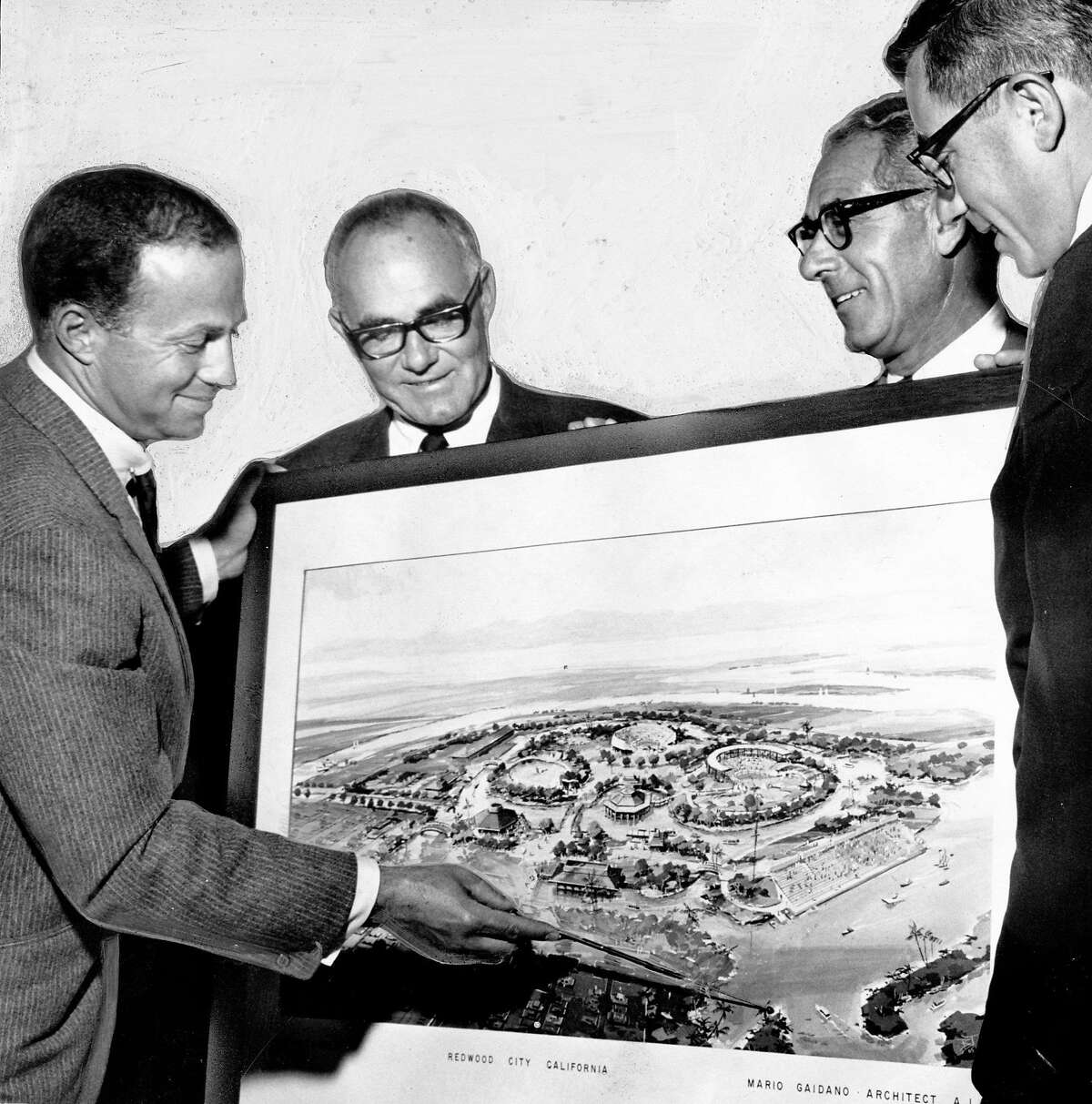 Architects look at plans for the Redwood City version of Marine World Africa U.S.A. Aug. 2, 1966.