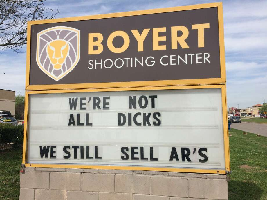 "Boyert Shooting Center, a combination gun range and store with two locations in the Houston area, is having a little fun with Dick's Sporting Goods' new AR-15 policy. This week the marquee outside Boyert's Mason Road location in Katy read, according to Katy outlet Covering Katy, ""We're not all Dicks. We still sell AR's"".Learn more about Houston's top gun ranges... Photo: Craig Moseley/Houston Chronicle"