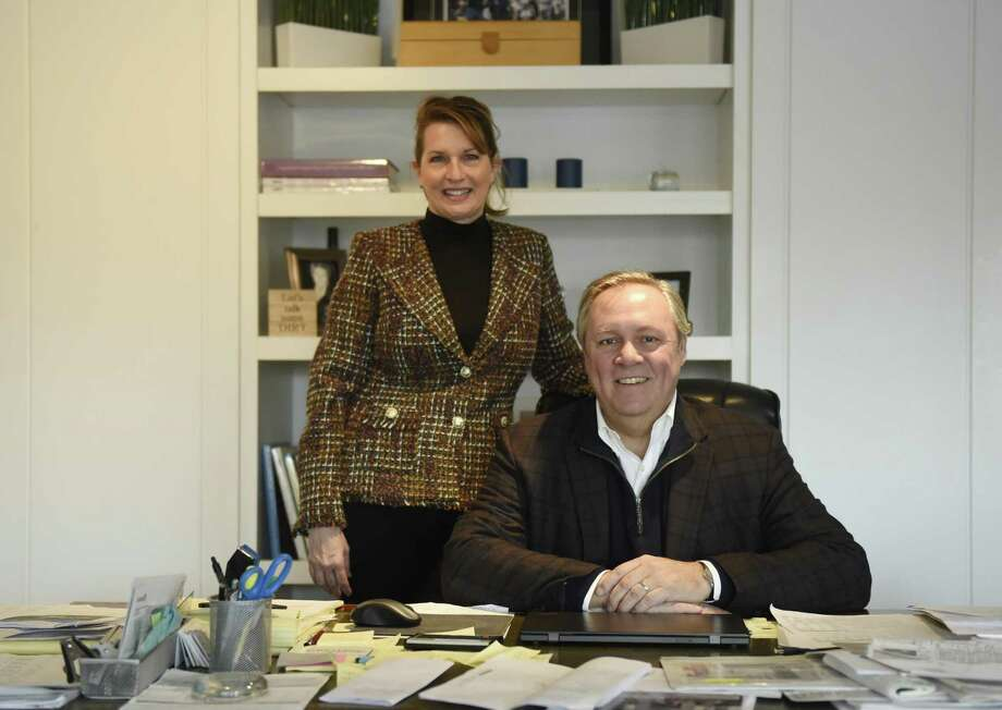 Centric Property Group Founder Jeffrey Jackson and Licensed Salesperson Susan Kaupie pose in the Centric office in the Riverside section of Greenwich, Conn. Tuesday, Feb. 6, 2018. Photo: Tyler Sizemore / Hearst Connecticut Media / Greenwich Time