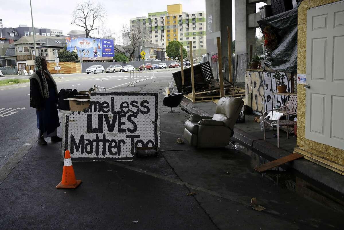 A homeless encampment under highway 24 along Northgate Ave., in Oakland, Calif., on Thurs. Mar.1, 2018.