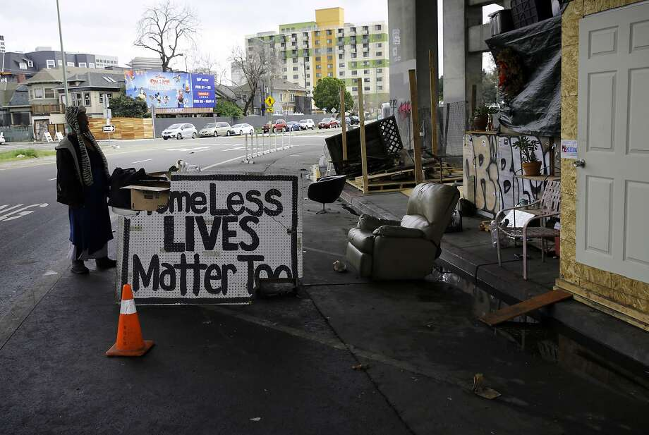 A homeless encampment under highway 24 along Northgate Ave., in Oakland, Calif., on Thurs. Mar.1, 2018. Photo: Michael Macor / The Chronicle