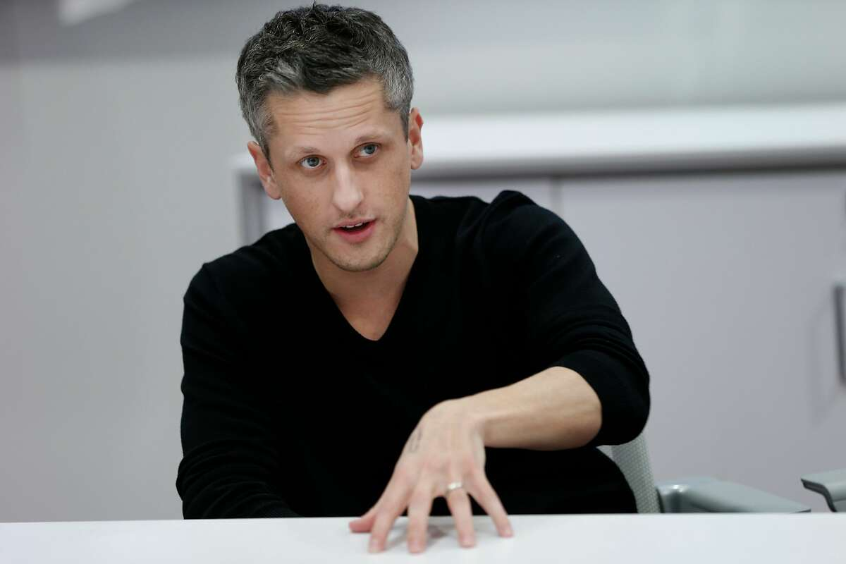 Box CEO Aaron Levie is interviewed by San Francisco Chronicle business reporter Wendy Lee (not pictured), Wednesday, March 7, 2018, in Redwood City, Calif.