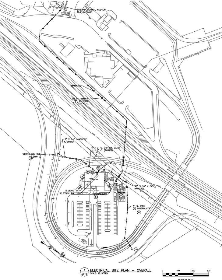"Plans from architectural drawings show a proposed ""Welcome to the Capital Region"" center, bottom, that would be built at the New Baltimore travel plaza on I-87. (NYS Thruway Authority)"
