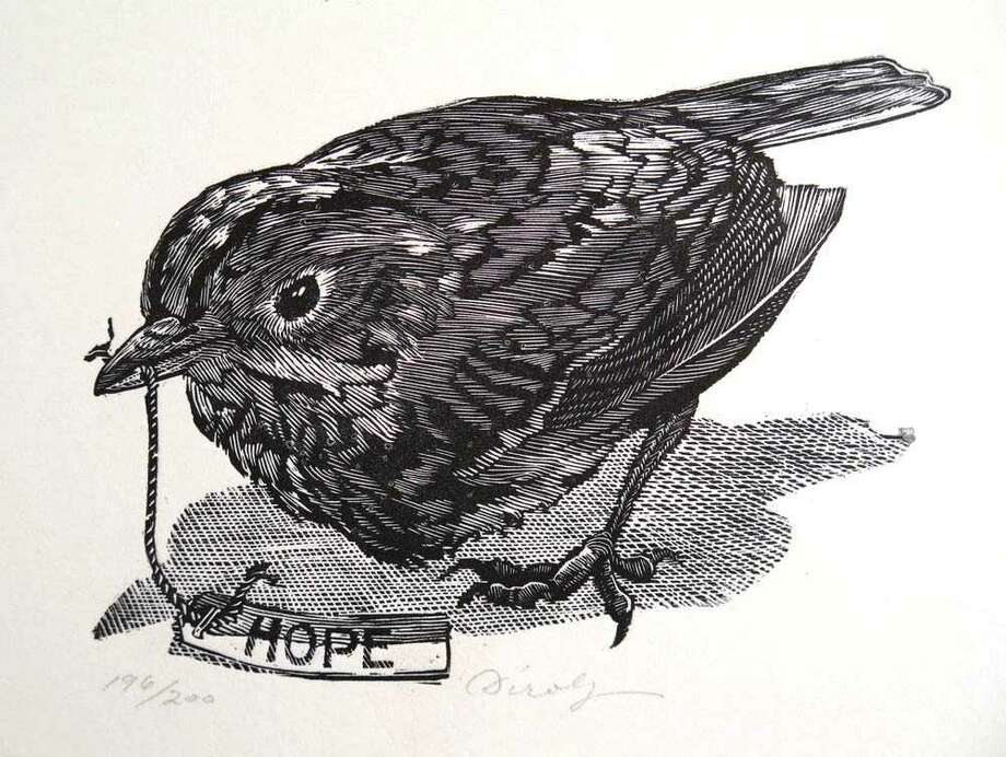 "George Dirolf ""Hope (Oven Bird)"" 2012 (wood engraving)"