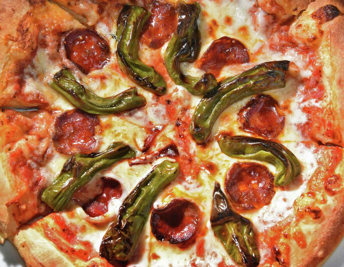 Chorizo and pepper pizza at The Wine Bar on Broadway Friday March 2, 2018 in Saratoga Springs, NY. (John Carl D'Annibale/Times Union)