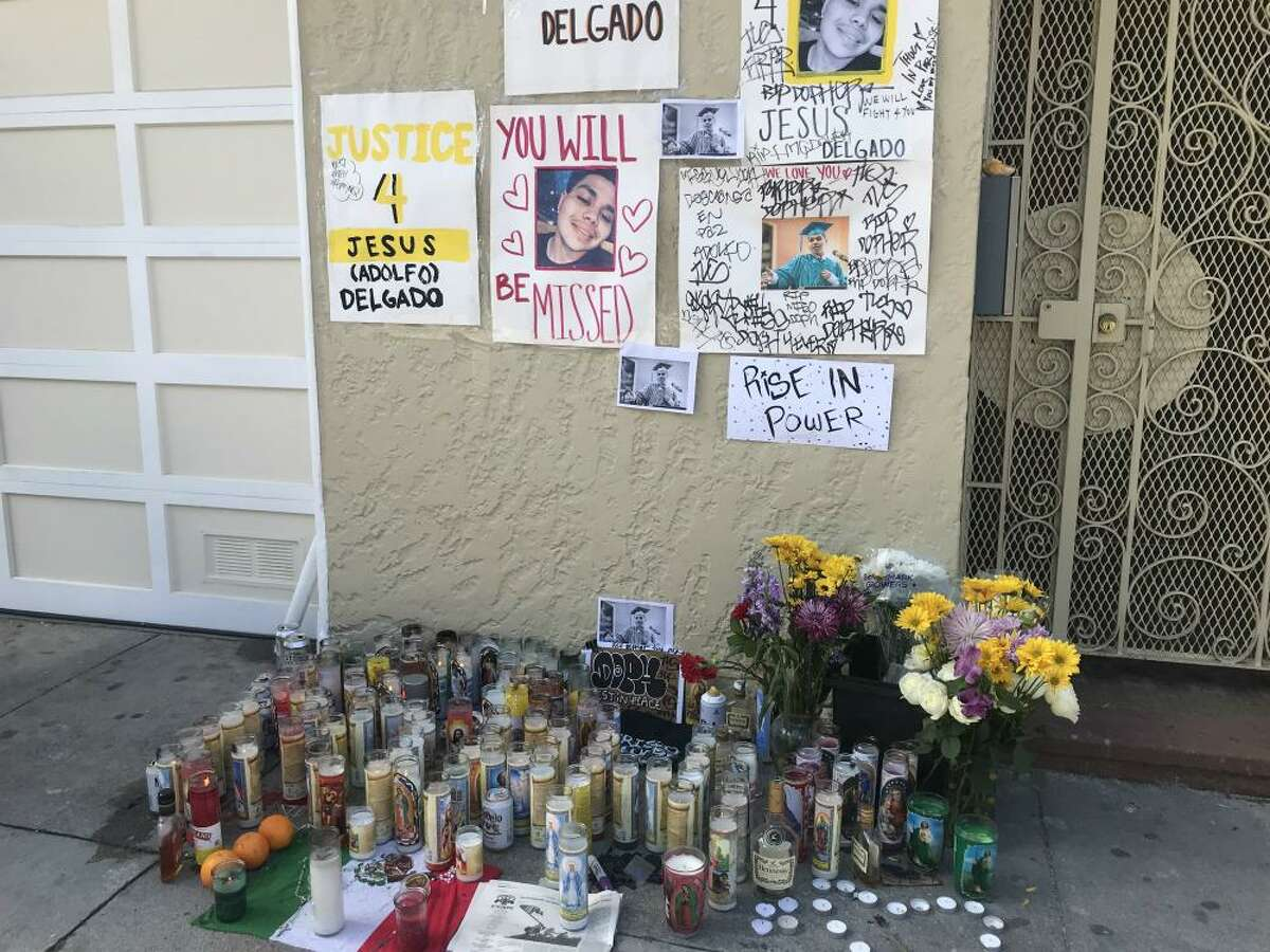 A memorial was set up near where Jesus Delgado-Duarte, 19, was shot and killed by police.