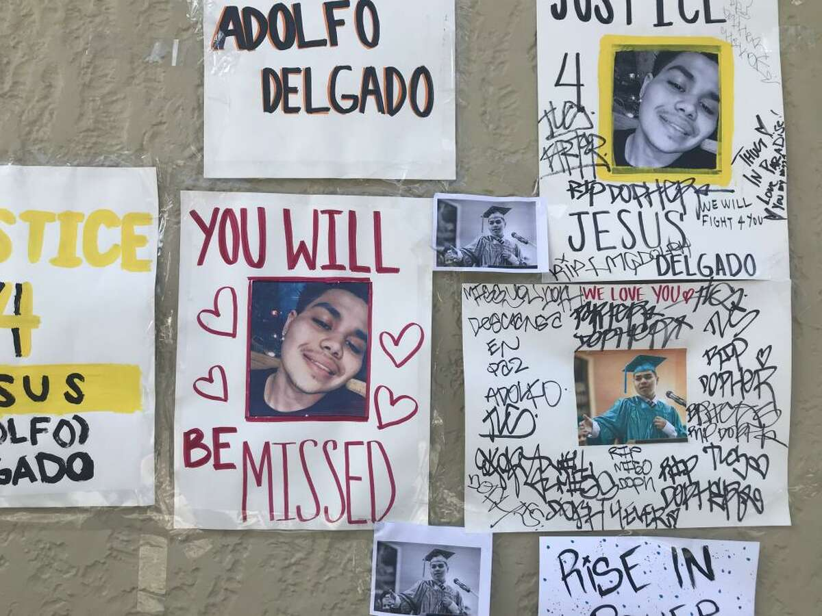 A memorial of candles and flowers was set up near where 19-year-old Jesus Delgado-Duarte was shot and killed by police on Tuesday night in San Francisco's Mission District.