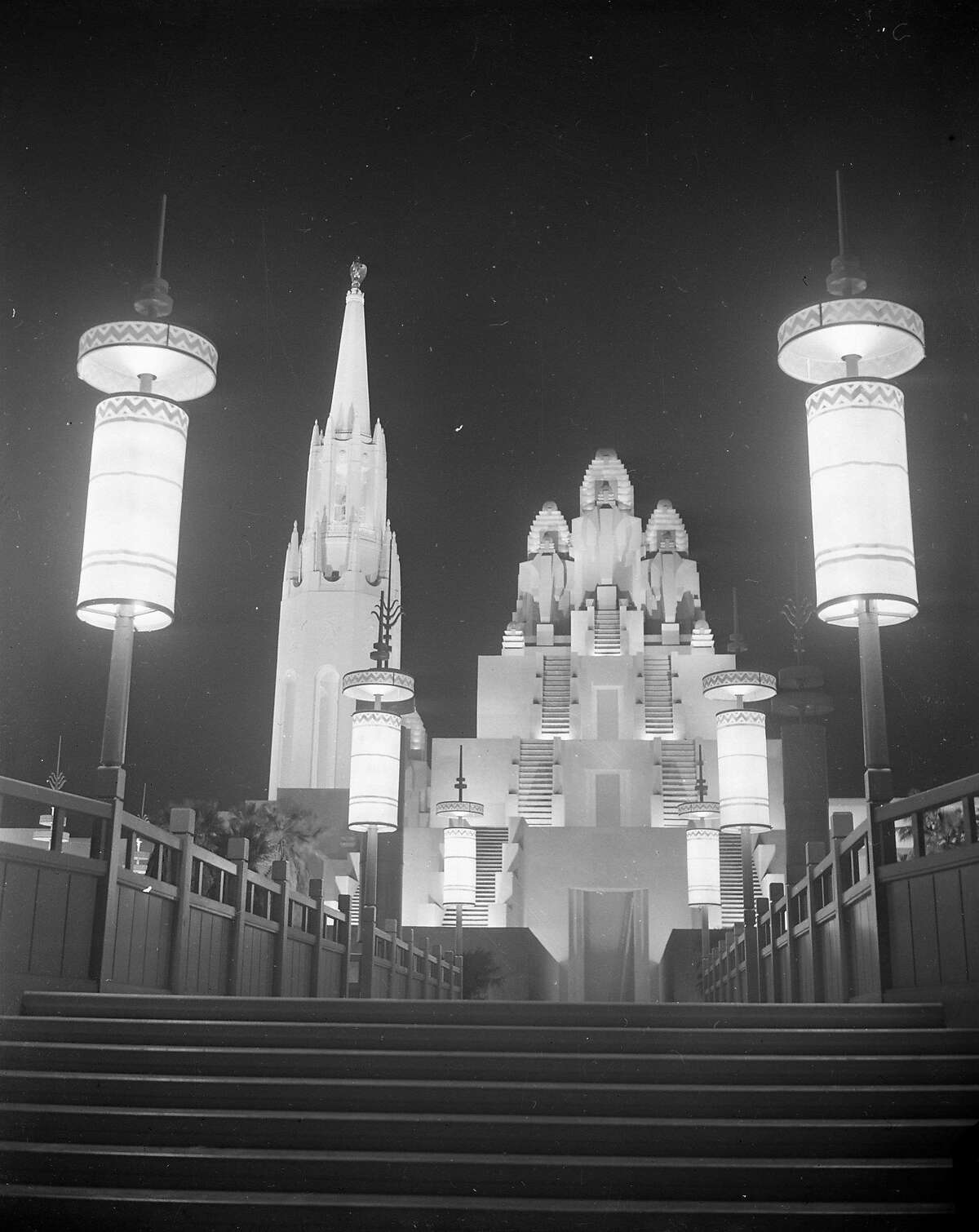 Night time photos of the Golden Gate International Exposition on Treasure Island, 1940