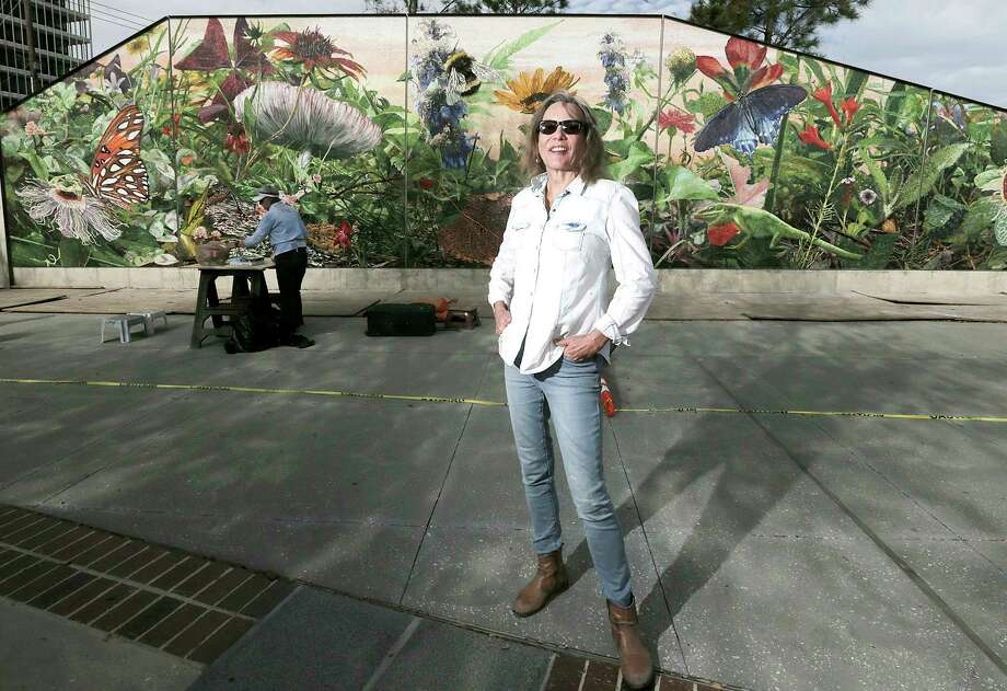 Muralist Dixie Friend Gay and the mural she is completing at the new Midtown Park on Friday, March 2, 2018, in Houston. ( Elizabeth Conley / Houston Chronicle ) Photo: Elizabeth Conley, Chronicle / © 2018 Houston Chronicle