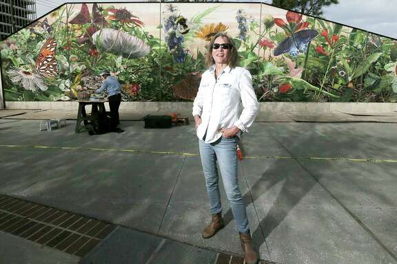 Muralist Dixie Friend Gay and the mural she is completing at the new Midtown Park on Friday, March 2, 2018, in Houston. ( Elizabeth Conley / Houston Chronicle )