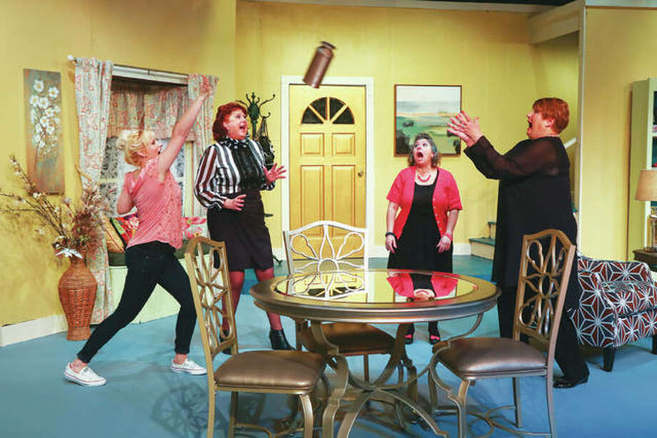 "Tiffani Bowen, Lee Cox, Diana Kay and Karen Wilson have some real comedic mishaps while in the Alton Little Theater production of ""Exit Laughing,"" on stage Friday, March 16, through Sunday, March 25. Photo: Pete Basola