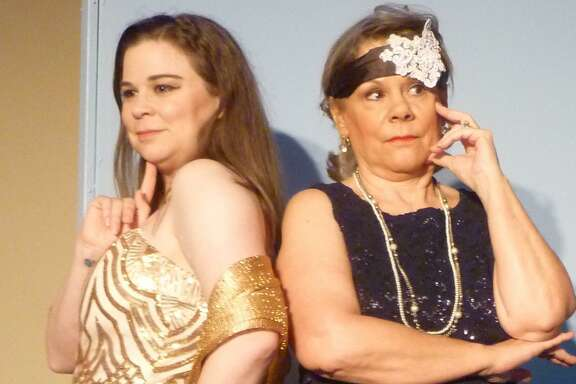 """Jennifer McLaughlin, left, shown with Judy Ahlhorn, is a Deer Park Junior High drama teacher who is onstage with a role in """"Moon Over Buffalo"""" this month at Dinner Theatre at Franca's."""