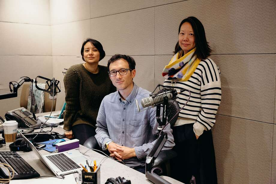 "Erika Aguilar (left), Devin Katayama and Vinnee Tong work on KQED's podcast ""The Bay."" Photo: Samantha Shanahan / KQED"