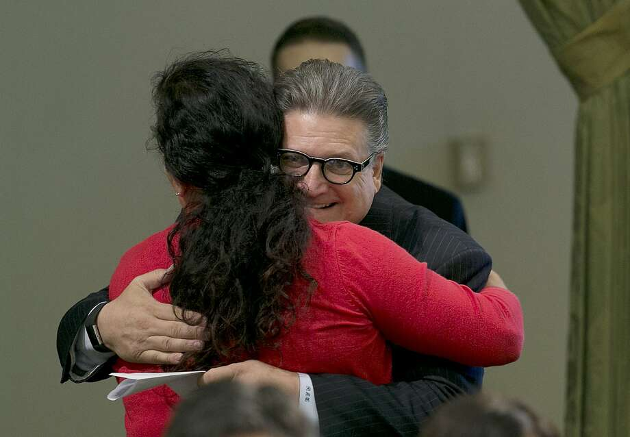 Bob Hertzberg hugs Assemblywoman Lorena Gonzalez Fletcher after a bill passage in 2017. Photo: Rich Pedroncelli, Associated Press
