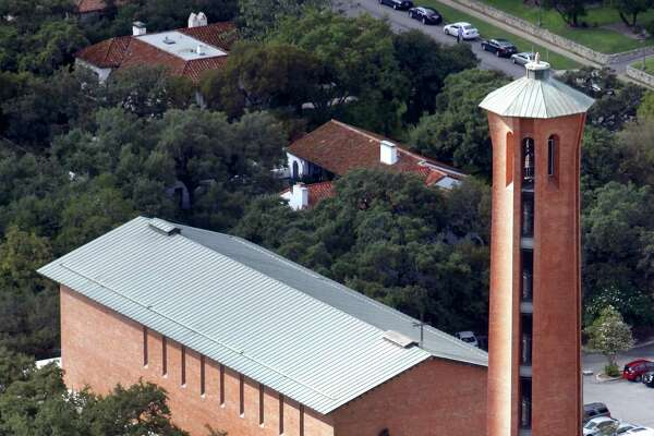Trinity University's Parker Chapel is seen in an aerial view with Murchison Tower in the foreground