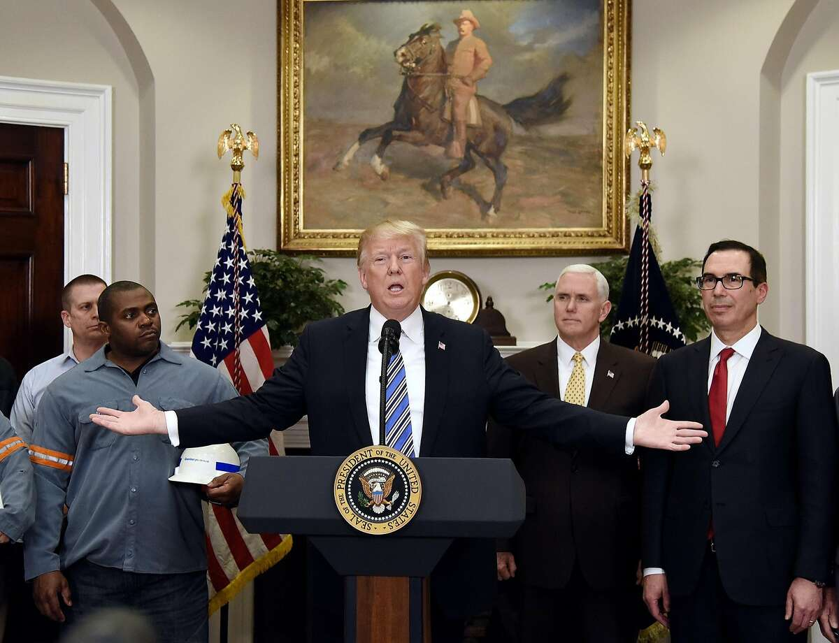 President Donald Trump speaks before signing the Section 232 Proclamations on Steel and Aluminum Imports during a ceremony at the White House Thursday, March 8, 2018 in Washington, D.C. (Olivier Douliery/Abaca Press/TNS)
