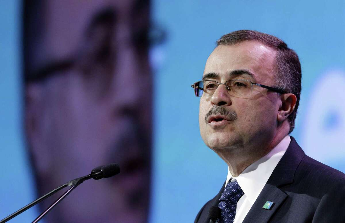 Saudi Aramco CEO Amin Nasser gives his address as a featured speaker during Ceraweek held at the Hilton Americas Hotel Tuesday, Mar. 6, 2018 in Houston, TX. Saudi Aramco has a long-term strategy to grow its refining and petrochemical footprint, and this week announced it is requiring Shell's stake of a refinery in Saudi Arabia.(Michael Wyke / For the Chronicle)