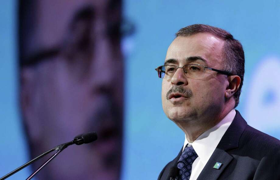 Saudi Aramco CEO Amin Nasser gives his address as a featured speaker during Ceraweek held at the Hilton Americas Hotel Tuesday, Mar. 6, 2018 in Houston, TX. Saudi Aramco has a long-term strategy to grow its refining and petrochemical footprint, and this week announced it is requiring Shell's stake of a refinery in Saudi Arabia.(Michael Wyke / For the Chronicle) Photo: Michael Wyke, Freelance / For The Chronicle / © 2018 Houston Chronicle
